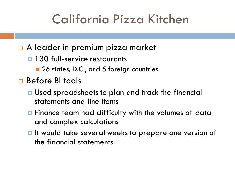 California Pizza Kitchen After BI tools from Cognos Quarterly forecasting cycles have been reduced from 8 days to 2 days The finance team can now focus on interpreting the financial statements instead of spending all their time preparing the statement