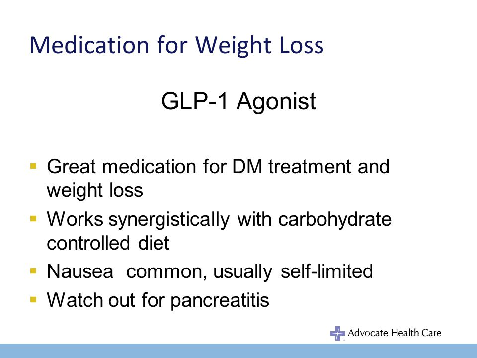 Medication for Weight Loss Bupropion Dopamine and norepinephrine reuptake inhibitor Tx major depression, smoking cessation, ADHD Do not use in bulimic patients, may lower seizure threshold