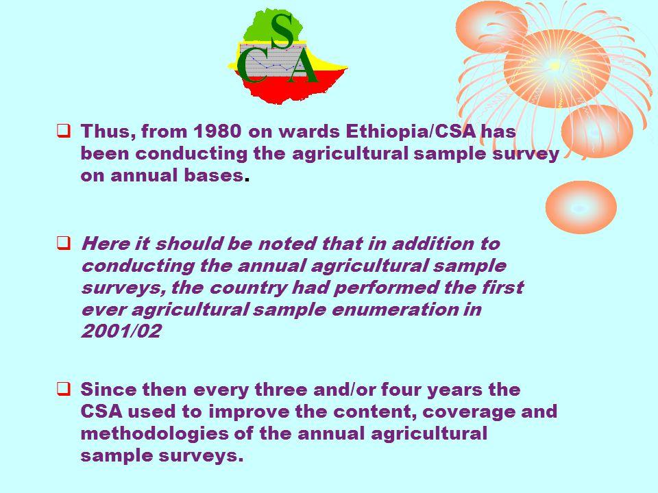 1.Main (Meher) season Pre-harvest Crop Production Forecast Sample Survey 2.