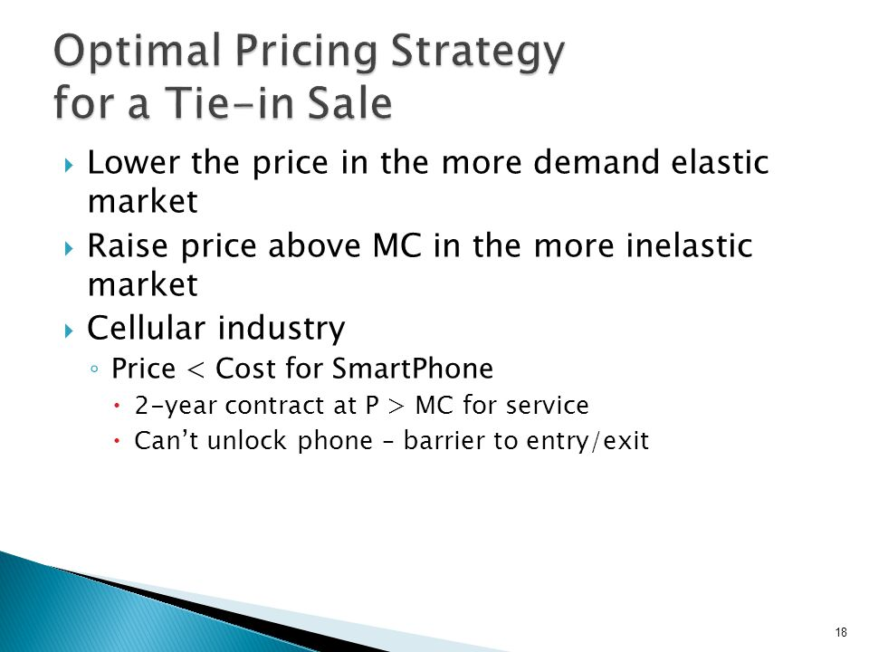 So optimal pricing strategy Underprice computers in order to sell at a single price to both high and low demand customers Price cards at > MC in order to extract CS Boeing Airplane market was more competitive WTP correlated with miles Tied-in on-board navigational systems 19