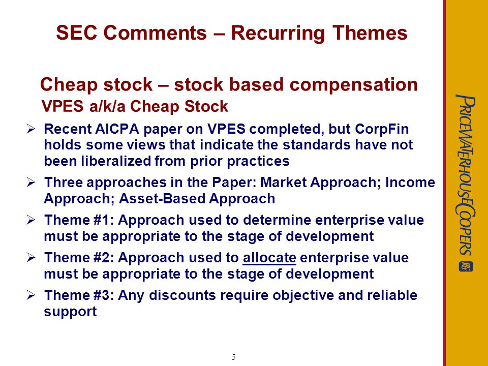 6 SEC Comments – Recurring Themes Preferred Stock - BCF BCF - Beneficial Conversion Feature exists when the conversion price is below the fair value of the common stock on the commitment date Similar to cheap stock issues, SEC focuses on the conversion price embedded in convertible preferred stock and debt securities issued within 1 year of an IPO Effect on financial statements