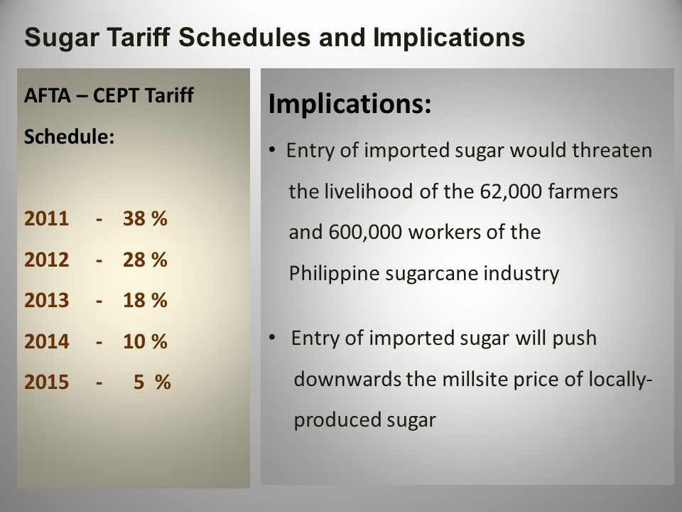 Maintaining Profitability in the Philippine Sugarcane Industry Fragmented farms due to the Comprehensive Agrarian Reform Law Small farms have low farm productivities Small farmers have no financial capability in procuring the necessary farm inputs Lacks infrastructure support from government