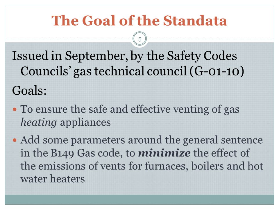 Specific Wording of the Standata Key Items in the STANDATA: Vents Category III or IV appliances Redirection of exhaust plume The effect of the vent with property lines Less than 4 feet 4 feet to 8 feet Greater than 8 feet 6