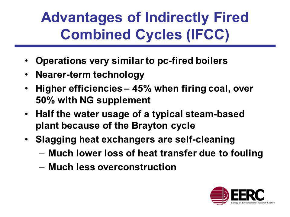 IFCC Schematic Efficiency, 47.3% GT output, 161 MW ST Output, 150 MW Coal/Gas 65%/35% Generator Steam Turbine Ash Slag Coal Gas Turbine Radiant Air Heater Convective Air Heater Selective Noncatalytic Reactor Zone Heat Recovery Steam Generator Generator FGD Hot Air Air Key: FGD: Flue Gas Desulfurization GT: Gas Turbine ST: Steam Turbine