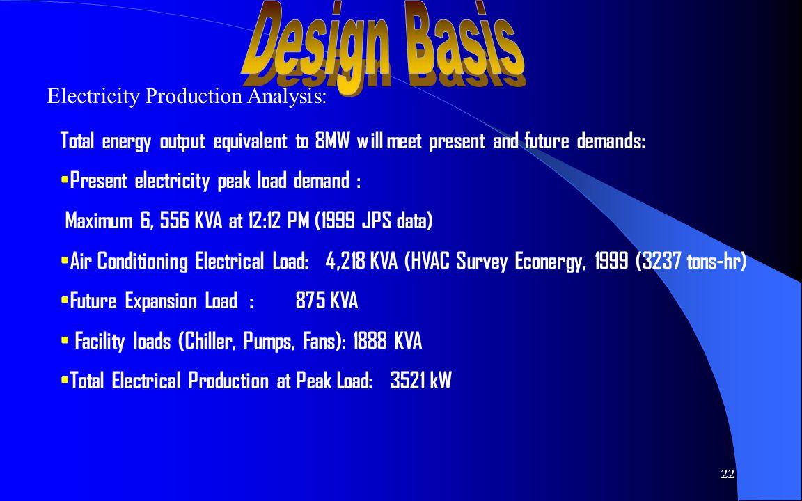 23 HEAT BALANCE: Steam Turbine/Generator: 4,000 volts; 357.9409 Amps; 1,432 kVA; 30 psia; 250 deg-F; 17,991 lbs/hr; 4.89 mmbtu/hr Absorption Chiller: Generator: 18.64 mmbtu/hr; Heat Exh 30.64 mmbtu/hr; Evaporator 1,000 tons, 12 mmbtu/hr Laundry: Centrifugal Chillers; Air Conditioning/CW; Ice Tank/TES; Diesel Gensets; HP Boiler Refer to HEAT BALANCE CHART: