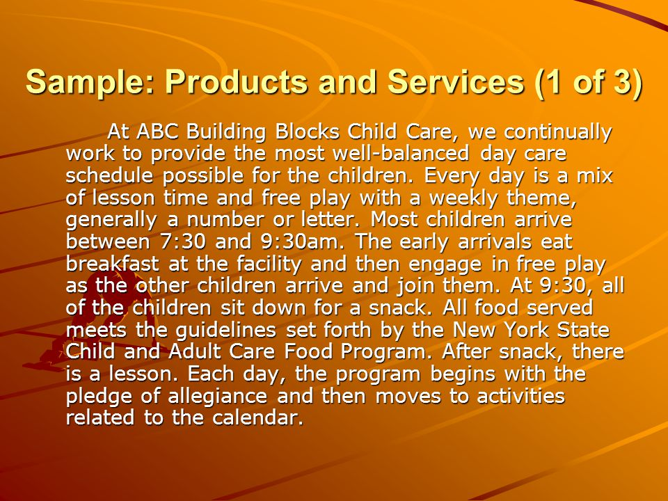 Sample: Products and Services (2 of 3) The program includes discussion of the months of the year, days of the week, seasons, holidays, and the weather.