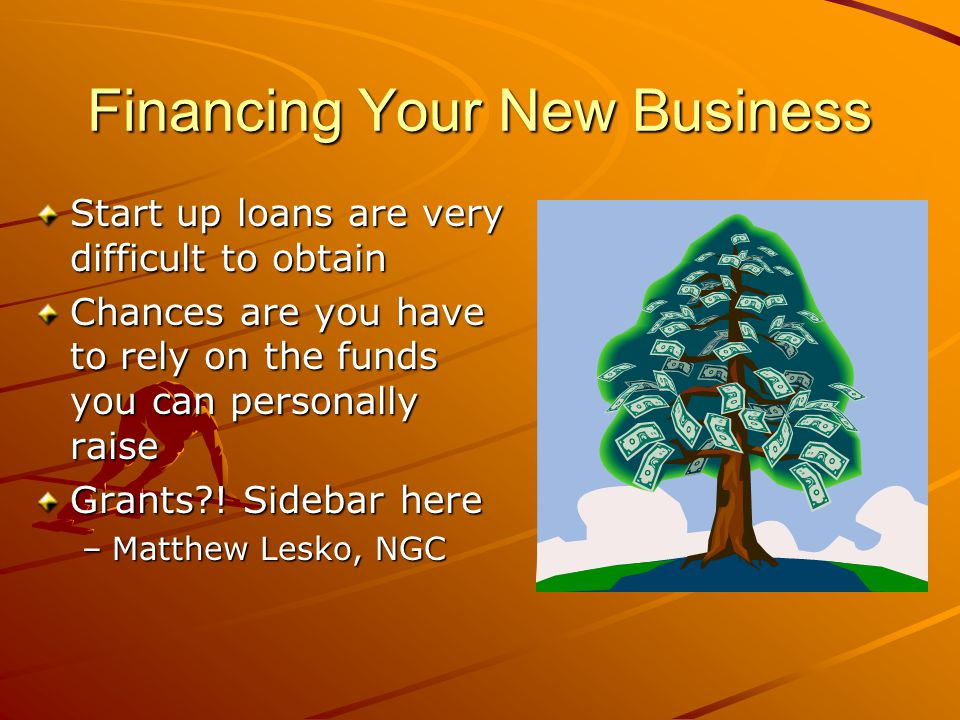 Methods of Financing Personal funds Family/ friend loans and gifts Angel investor Venture capital Grants Personal loan Business loan