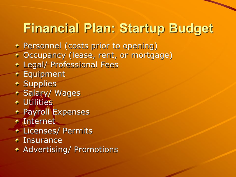 Financial Plan: Operating Budget Personnel Lease/ Rent/ Mortgage Loan Payments Legal Fees AccountingSupplies Salaries/ Wages Dues/ Subscriptions/ Fees Repairs/ Maintenance Insurance Advertising/ Promotions Depreciation Payroll Expenses Internet Payroll Taxes Travel/ Entertainment Miscellaneous 3-6 Months of Operating Capital