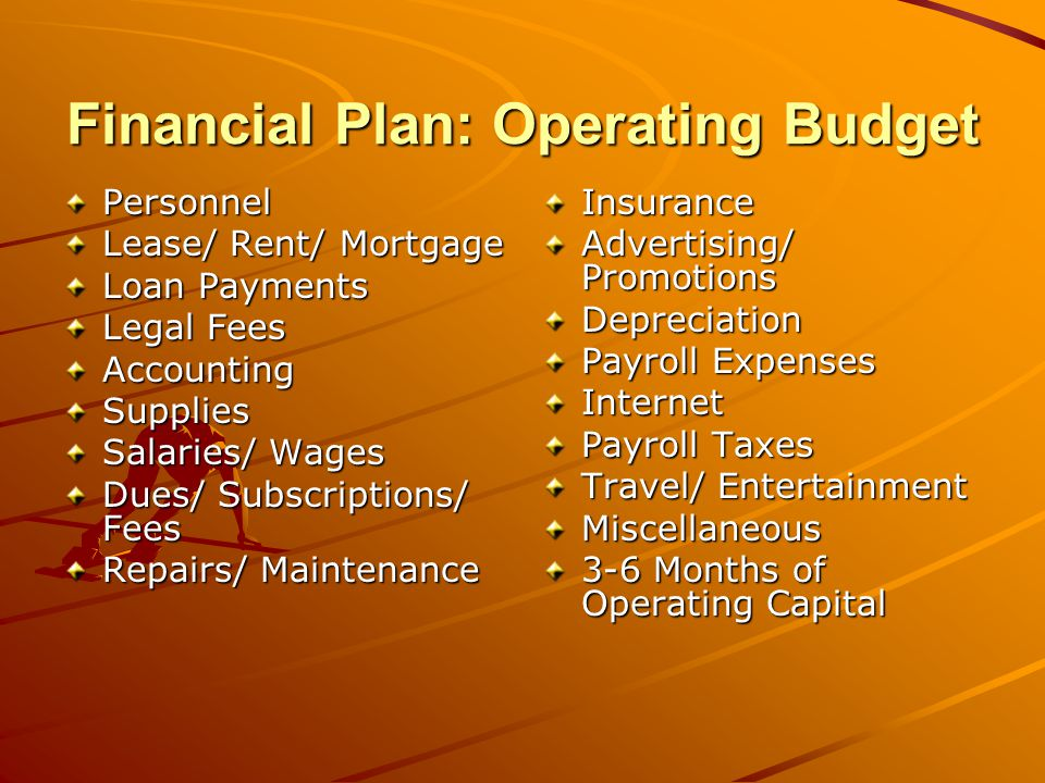 Financial Plan: Sources and Uses Sources of funds Details of requested financing –Amount –Use –Terms