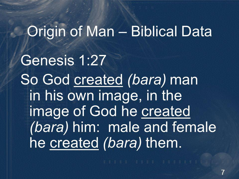 8 Origin of Man – Biblical Data Genesis 2:7 Then the LORD God formed (yatsar) man of dust from the ground, and breathed into his nostrils the breath of life; and man became a living being.