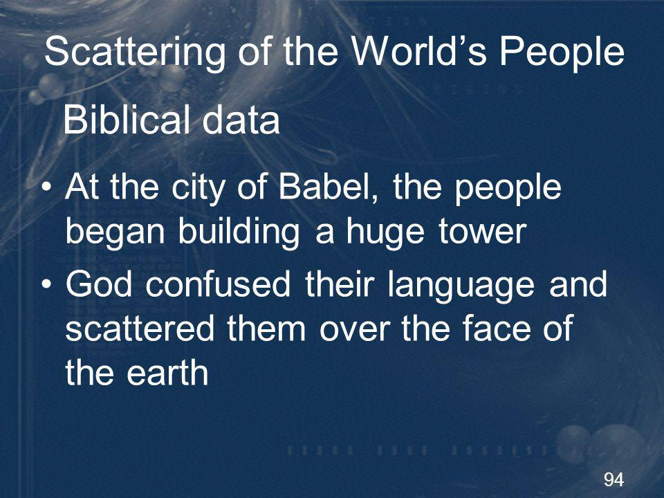 95 Scattering of the Worlds People Geographic barriers Bering Strait – Americas and Asia Strait of Malaca – Indonesia and Asia Torres Strait – Australia and Asia Land bridges established by the ice age