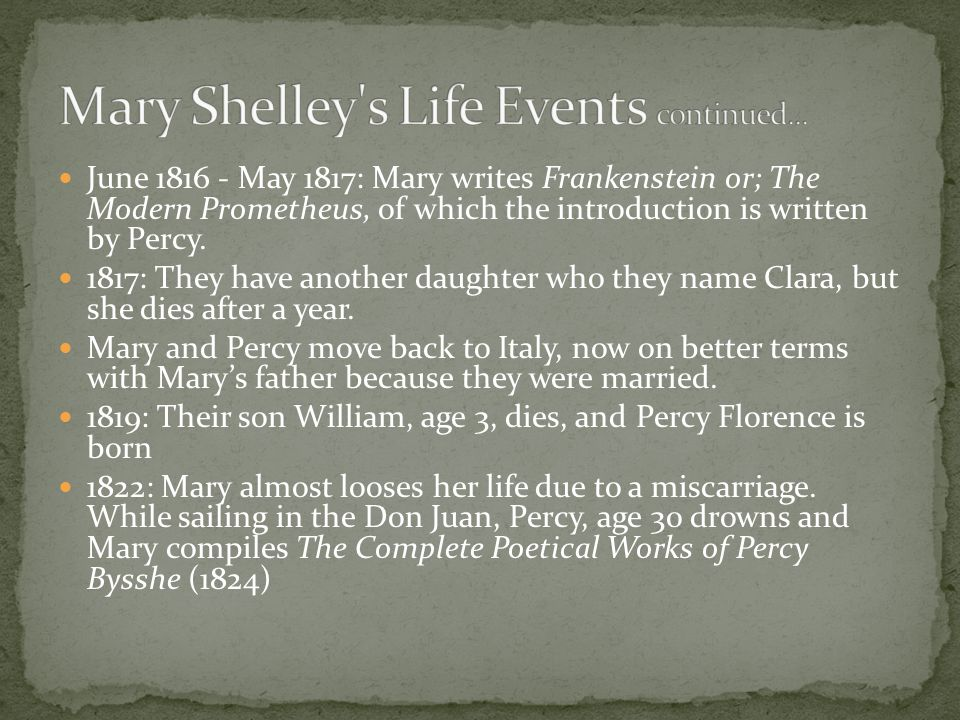 1823: Mary and her son Percy return to England, she continues writing, and fights illness 1824: At age 26 Byron dies of illness while fighting for the independence of Greece from Turkey 1851, February 1: Mary Wollstonecraft Shelley dies at age 54 in London Information from: Mellor, Merriman, and Drake