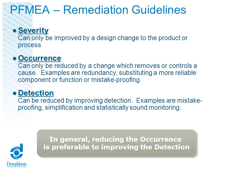 FMEA – Step 7 Determine Actions Recommended to reduce High RPNs For the high RPN numbers, determine the recommended actions.