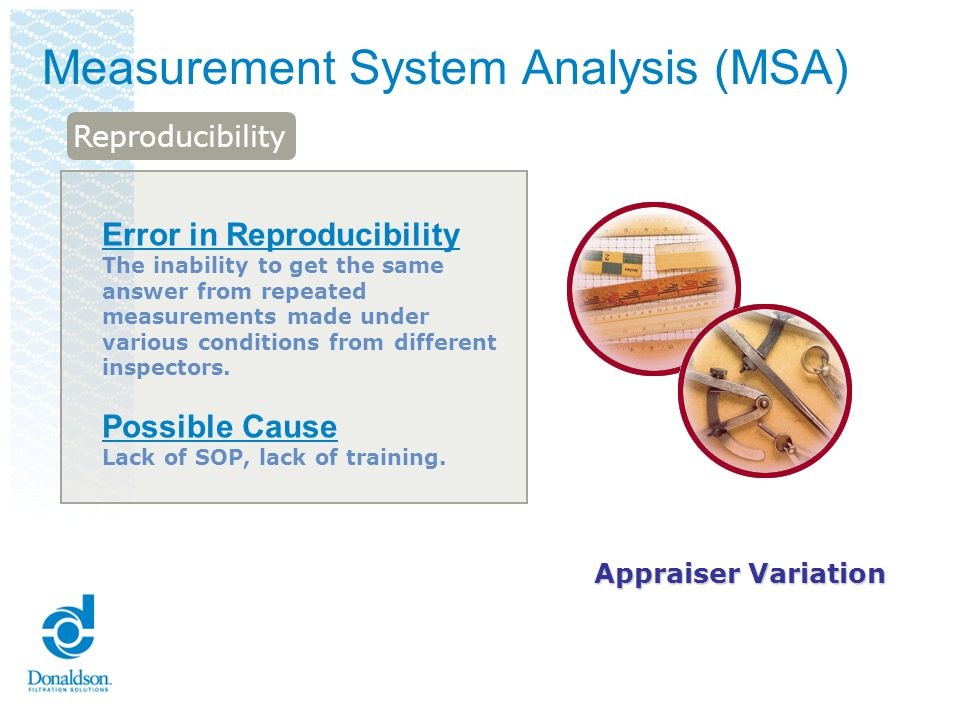 Variable MSA – Gage R&R Study RepeatabilityReproducibilityGage R&R is the combined estimate of measurement system Repeatability and Reproducibility Typically, a 3-person study is performed Each person randomly measures 10 marked parts per trial Each person can perform up to 3 trials There are 3 key indicators EV EV or Equipment Variation AV AV or Appraiser Variation % GRR Overall % GRR
