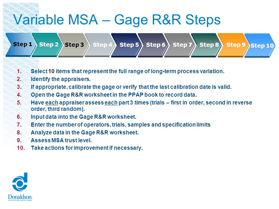 Steps 1 and 2: Variable MSA - Gage R&R Select 10 items that represent the full range of long-term process variation.