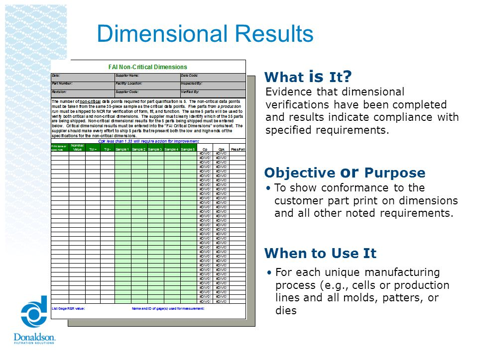 Donaldson Dimensional Report (Critical) Requires 35 data points Cpk 1.67 Cpk must be greater than or equal to 1.67 This is included in the PPAP book.
