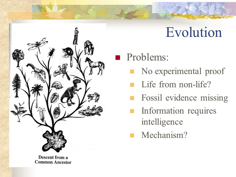 Evolution: no experimental proof Science based upon observation and experiment: the scientific method Not one change of species into another is on record… we cannot prove that a single species has been changed Charles Darwin My life and letters vol1