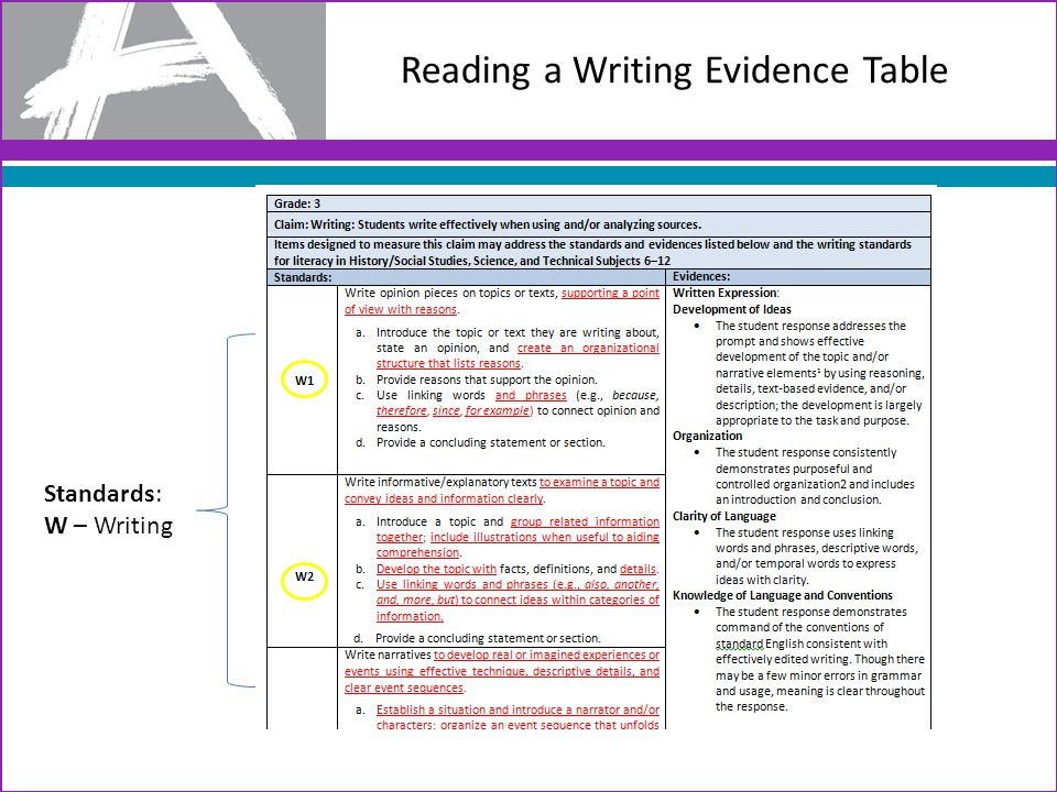 Using Evidence Tables to Guide Text Selection