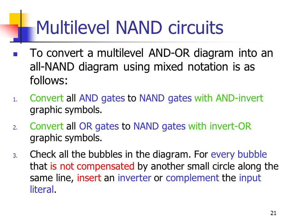 22 Multilevel NAND circuits,,
