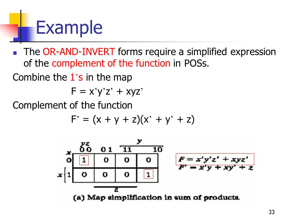 34 Example The normal output F F = (x + y + z)(x + y + z)] We can implement the function in the OR-NAND and NOR-OR forms as follows.