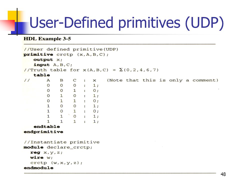 49 User-Defined primitives (UDP) With keywords and, or, etc …,are referred to as system primitives.