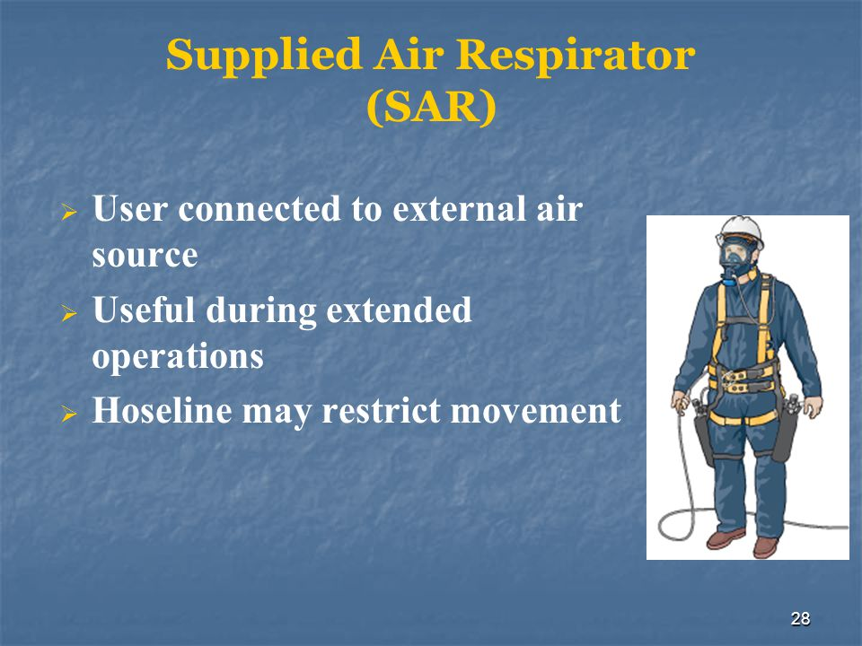 29 Air Purifying Respirators (APRs) Filter particulates and contaminants from the air Should only be used when: Type and amount of contaminants are known Atmosphere is not oxygen-deficient