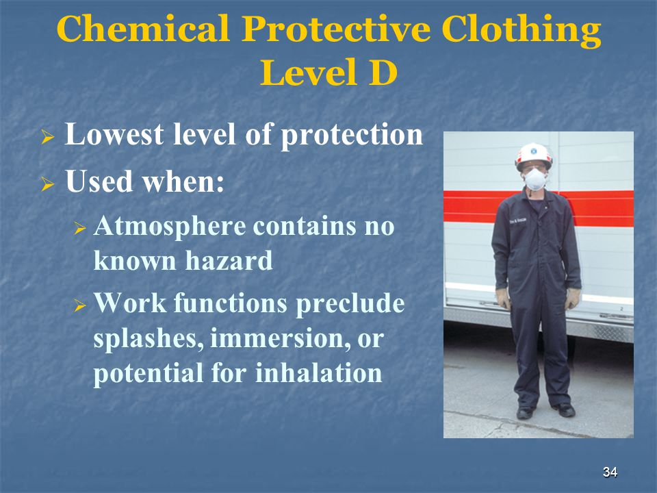 35 Skin Contact Hazards Toxicity, flammability, and reactivity Inadequately protected body Assume the worst and leave the largest possible safety margin
