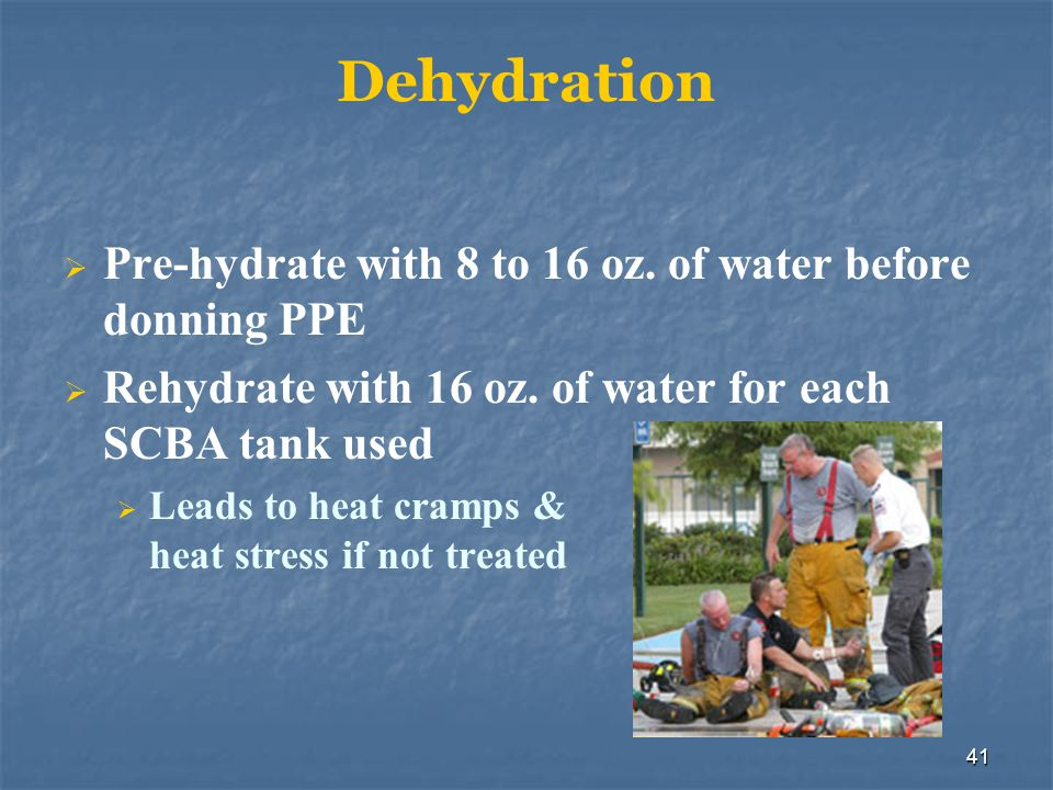 42 Heat Exhaustion Signs & symptoms: Rapid shallow breathing Weak pulse Clammy skin Emergency action: Remove victim from the source of heat Rehydrate Provide cooling