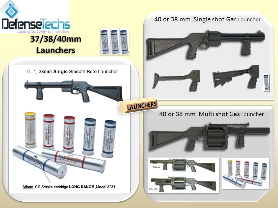 4 0 MM TACTICAL LAUNCHERS MODEL TGL-1 SINGLE SHOT The TGL-1 is a single shot 40mm launcher designed to be compatable with all MIL SPEC less-lethal rounds.