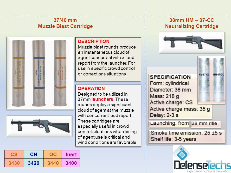 mm 37/40 BATON AND STING-BALL CARTRIDGES CTS manufactures a complete line of less-lethal impact munitions.