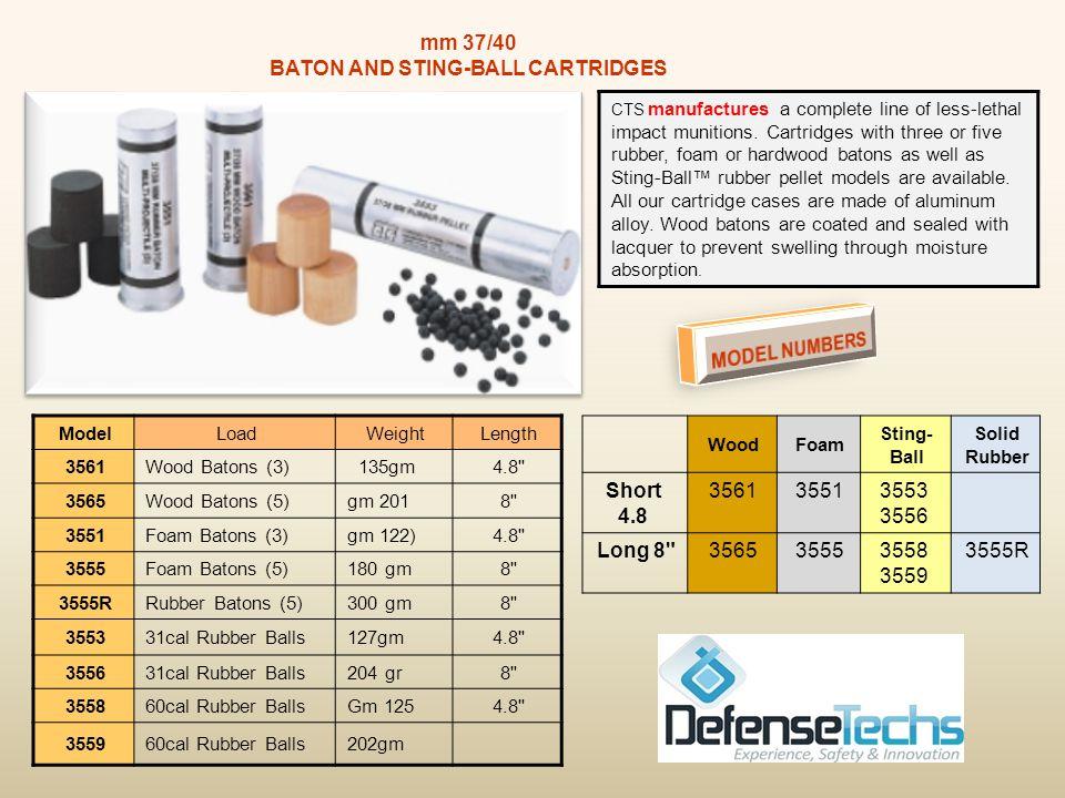 BreachingSting-BallSuper- Sock 2570 2552 2553 HV 2555 2581 MODEL NUMBERS Total WeightLoadModel 56gm (1.97oz)Shot Filled Sock2581 18gm (0.6oz)18 31cal Rubber Balls2552 19gm (0.7oz)18 31cal Rubber Balls2553 18gm (0.6oz)3 60cal Rubber Balls2555 35gm (1.4oz)Powdered Metal Slug2570 INERTOCCNCS 2300234023202330 Liquid 2400244024202430 Powder MODEL NUMBERS Effective Range Muzzle Velocity Total Weight Model 50 yds (45 meters) 1000 fps19gmLiquid 50 yds (45 meters) 1200 fps18.8gmPowder 12 ga KINETIC ROUNDS 12 ga KINETIC ROUNDS