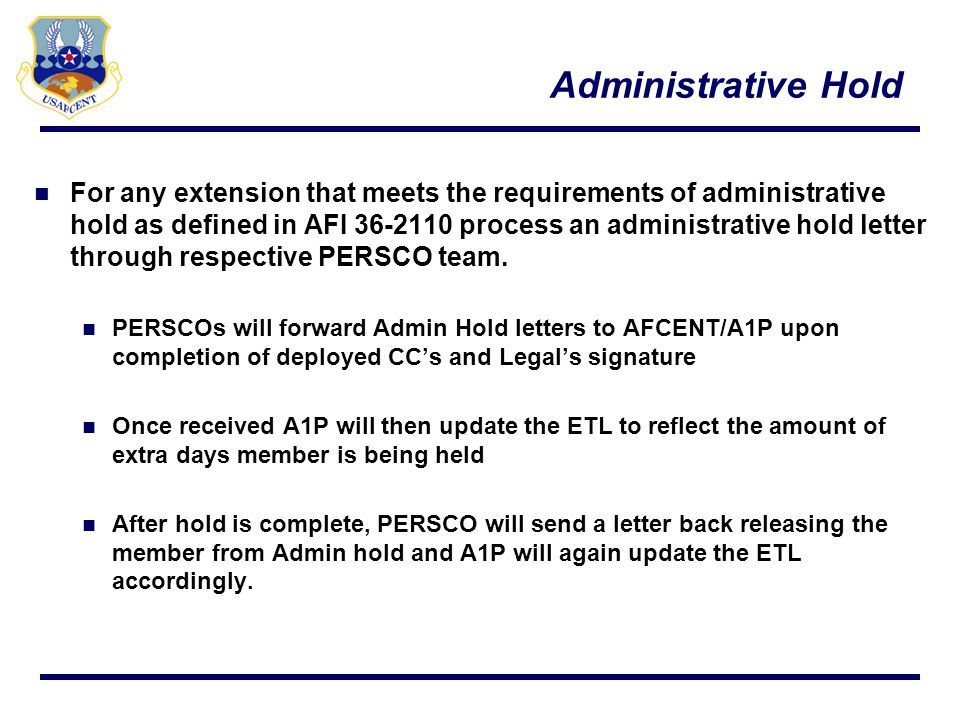 Waivers PERSCO/IPRs will refer to AFI 10-401 Chapter 10 para 10.11.4; If the TPFDD Line-level Detail/DRMD waiver has not been received within 5 duty days of submission (3 days for requirements within 30 days of first movement), the tasked unit/wing/MAJCOM is authorized to complete the RPT process.
