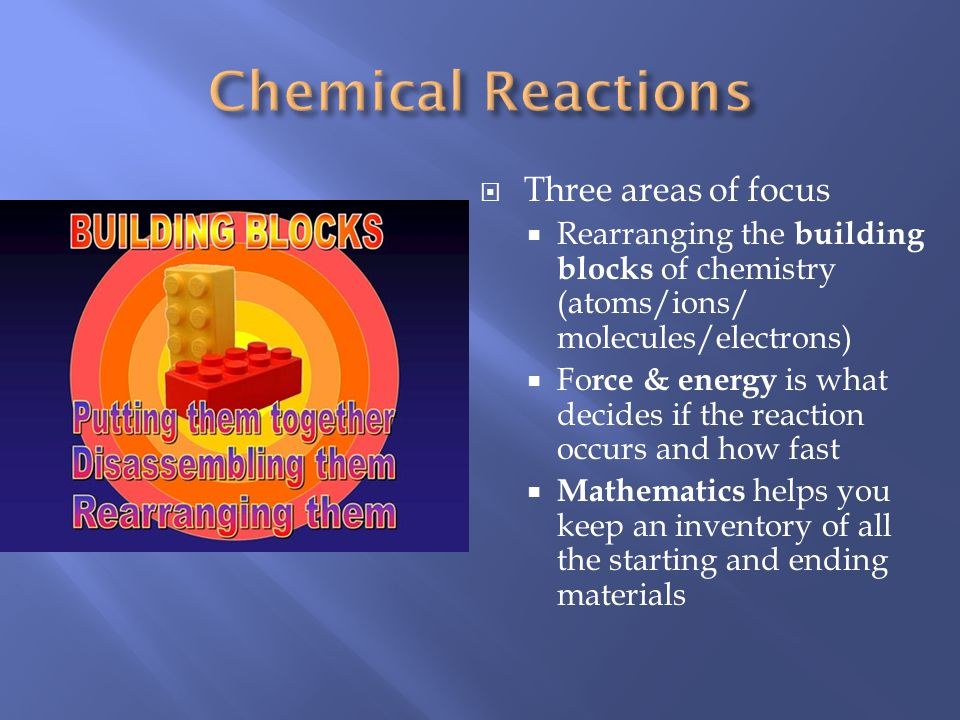 Three areas of focus Rearranging the building blocks of chemistry (atoms/ions/ molecules/electrons) Fo rce & energy is what decides if the reaction occurs and how fast Mathematics helps you keep an inventory of all the starting and ending materials