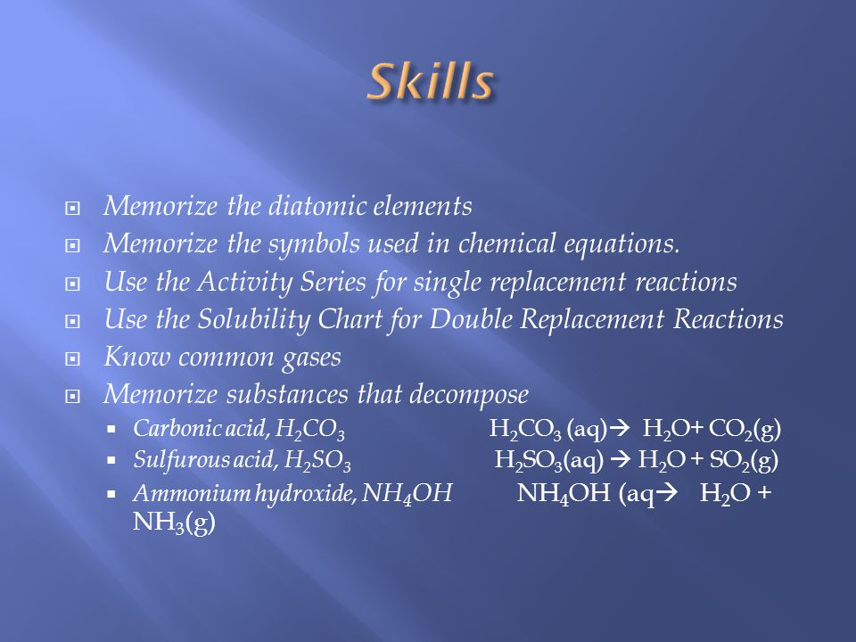 Memorize the diatomic elements Memorize the symbols used in chemical equations.