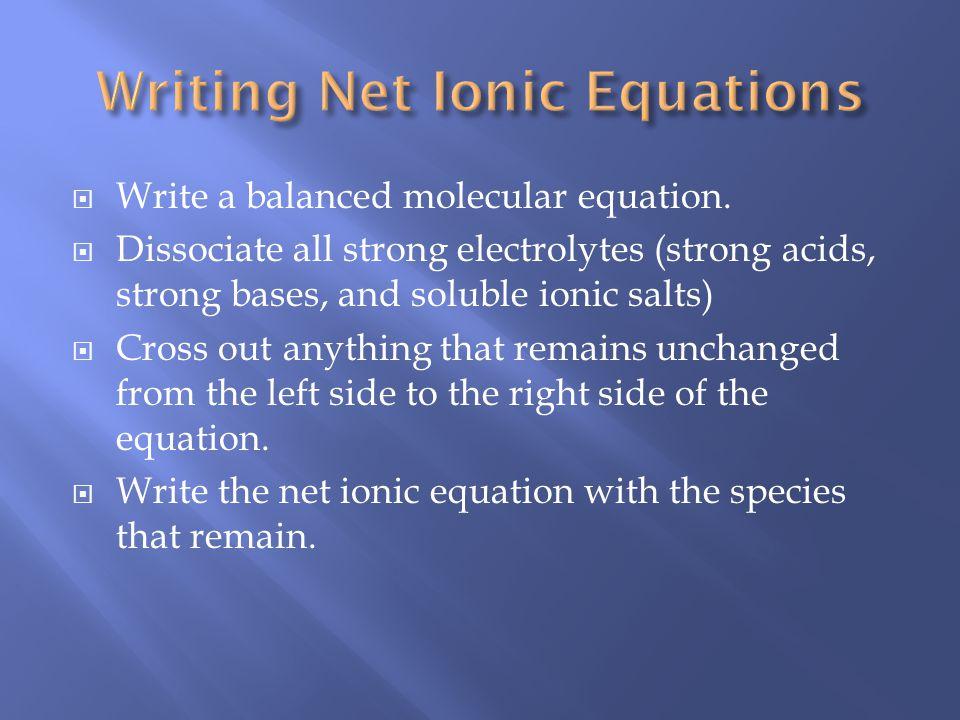 Write a balanced molecular equation.