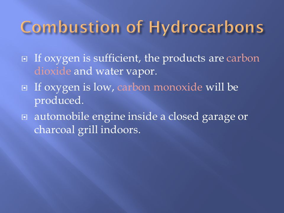 If oxygen is sufficient, the products are carbon dioxide and water vapor.