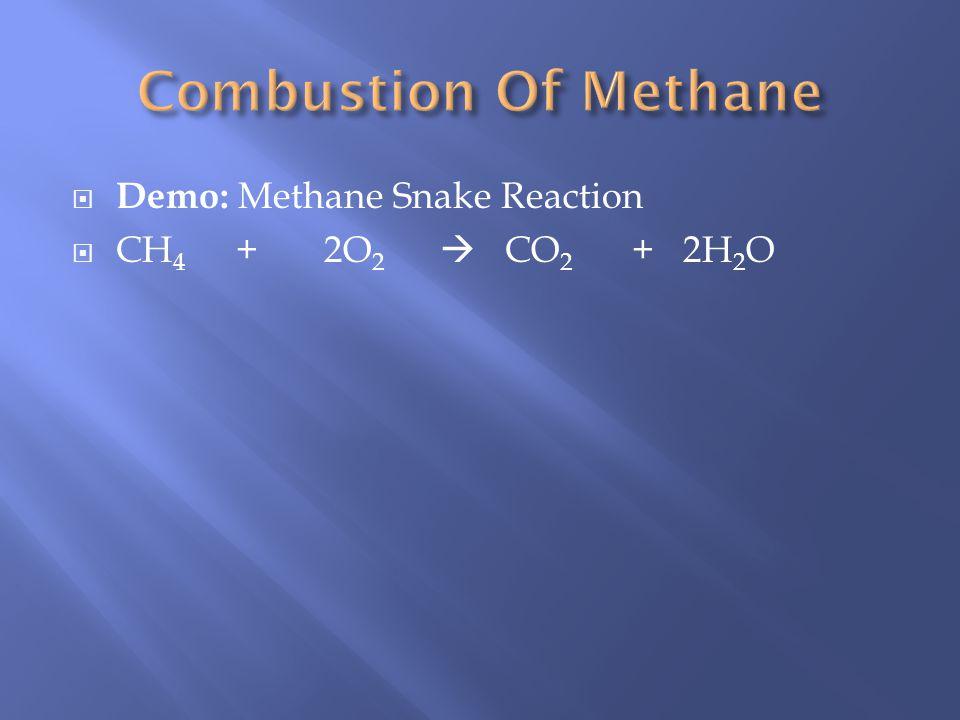 Demo: Methane Snake Reaction CH 4 + 2O 2 CO 2 + 2H 2 O