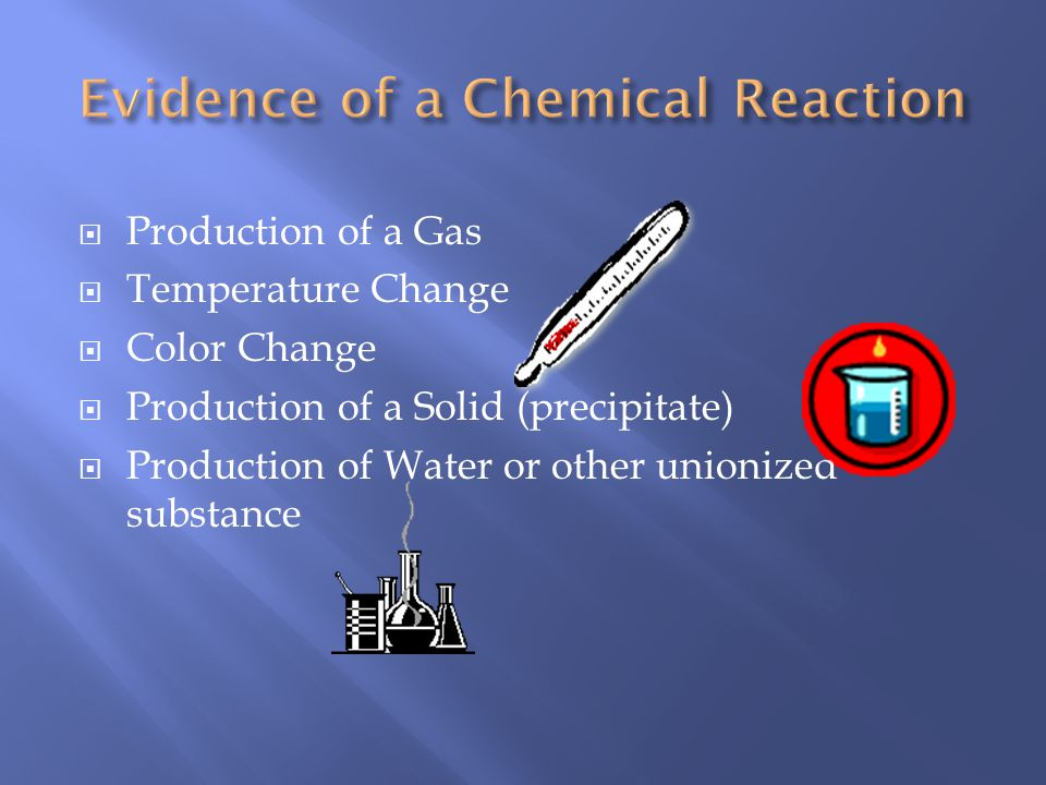 Production of a Gas Temperature Change Color Change Production of a Solid (precipitate) Production of Water or other unionized substance