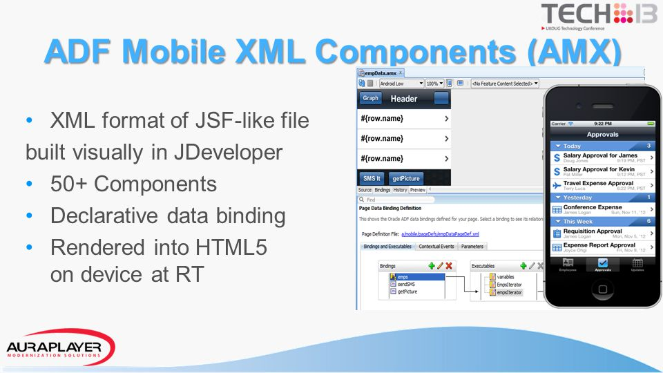 ADF View AMX Page – Holds the UI of a single page in XML format – Component set provided to construct the UI – Expression Language (EL) used to bind data to the components – EL is dynamic - If the value pointed to be an EL changes, the UI updates (unlike JSF lifecycle) Backing Beans – Java classes defined with an identifier and a scope (Application / pageFlow / View) – Definition in a taskflow – Used to hold page or-specific data and logic – Can access bindings on the page – Can call into into the model and update other items bound on the page