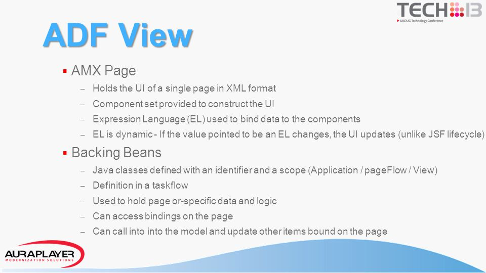 Page Definition Created when data control dropped on page One per AMX page – When data controls are used Defines which data controls are used on page Lists data and operations/methods