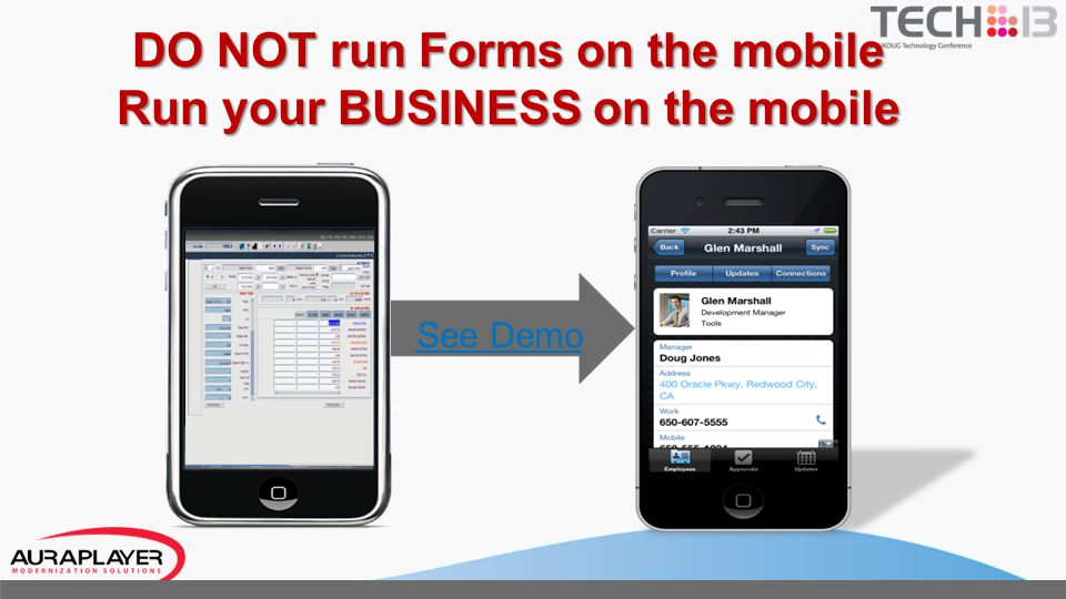 Exposing Forms to Mobile: The Process Understand Business Process Record & Deploy Scenario Generate WS with wizard Create ADF Mobile App Run Your Mobile App.