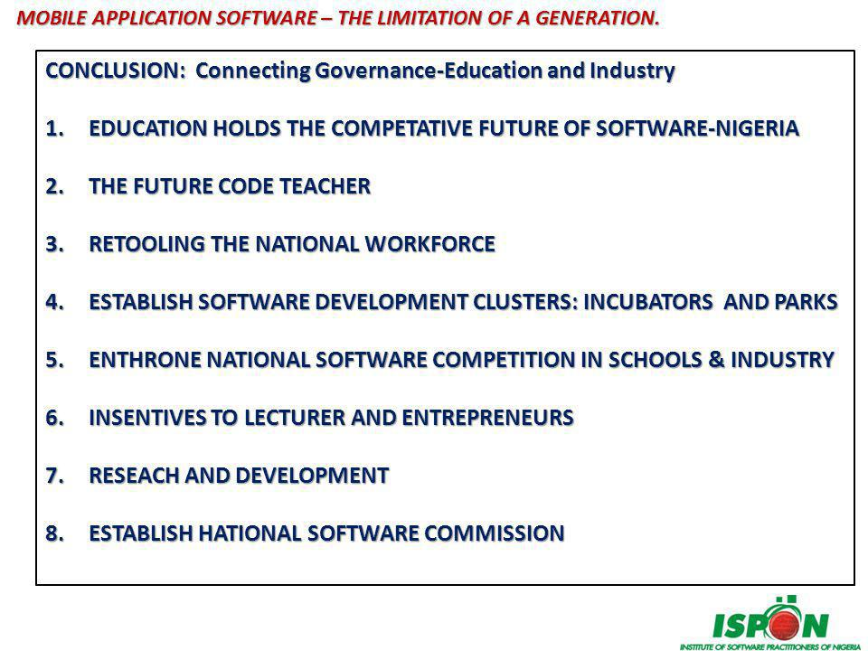 MOBILE APPLICATION SOFTWARE – THE LIMITATION OF A GENERATION? QUESTIONS & NEXT STEPS?