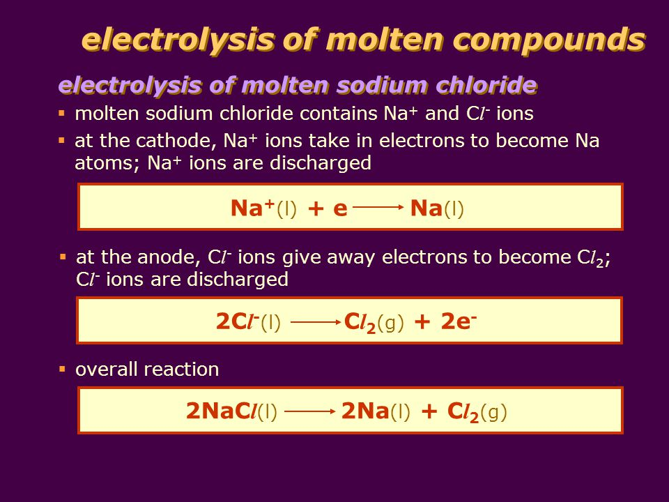 electrolysis of molten compounds electrolysis of molten sodium chloride molecules of chlorine gas produced chloride ion gives electron to anode chlorine atom electrons flow from anode into battery anode cathode sodium ion takes electron from cathode sodium atom sodium metal produced electrons flow from battery into cathode sodium ion attracted to cathode chloride ion attracted to anode