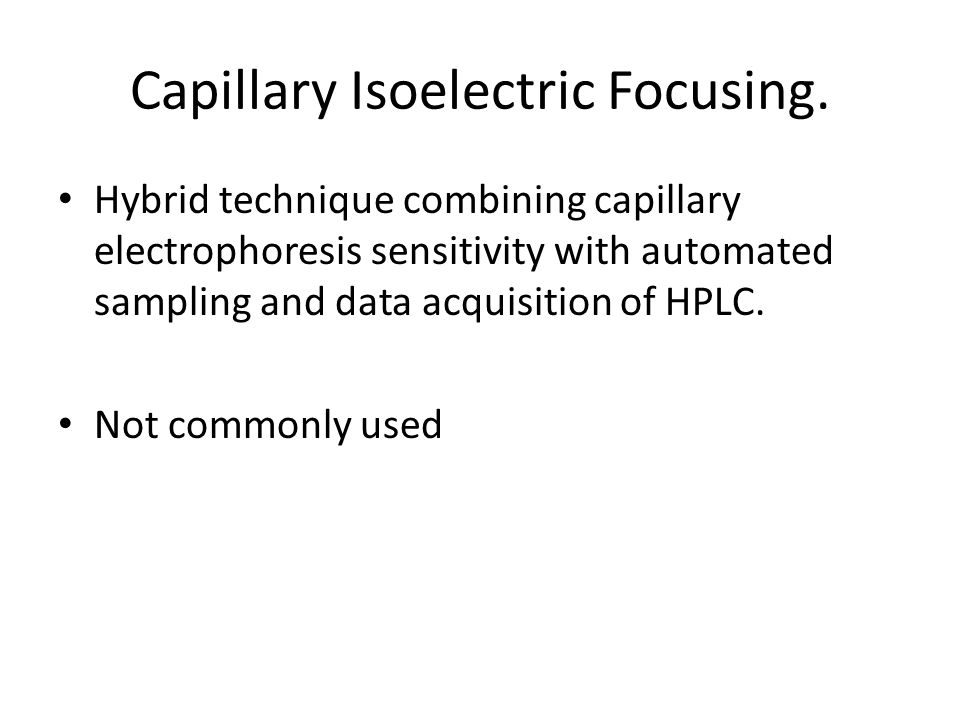 HPLC Principle Cation-exchange HPLC can be preformed on an automated instrument that can quantify Hb A2, Hb F, Hb A, Hb S, and Hb C.
