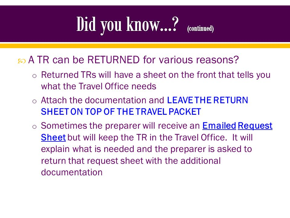 Copy of return sheet