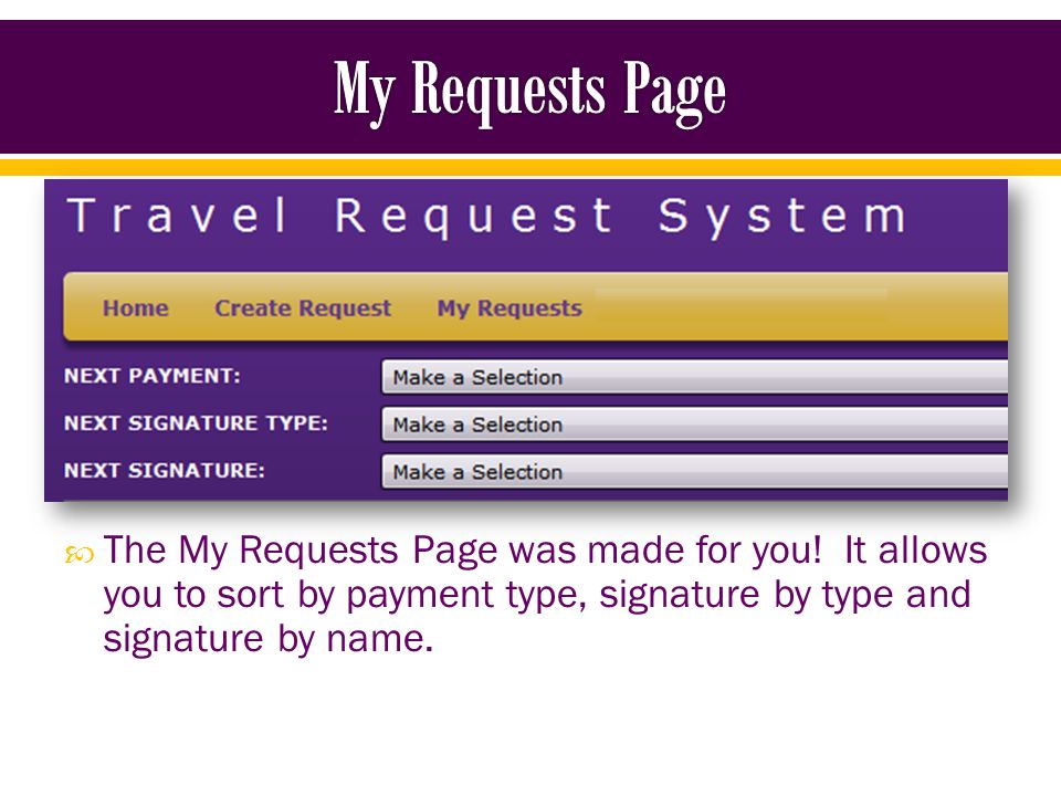 Payment Type o All o Blanket Reimbursement: a blanket TR that has expenses listed on it o Blanket Request: a blanket TR that does not have any expenses listed o Standard Advance: an advance that has been created o Standard Reimbursement: a TR that has expenses listed on it o Standard Request: a TR that does not have any expenses listed