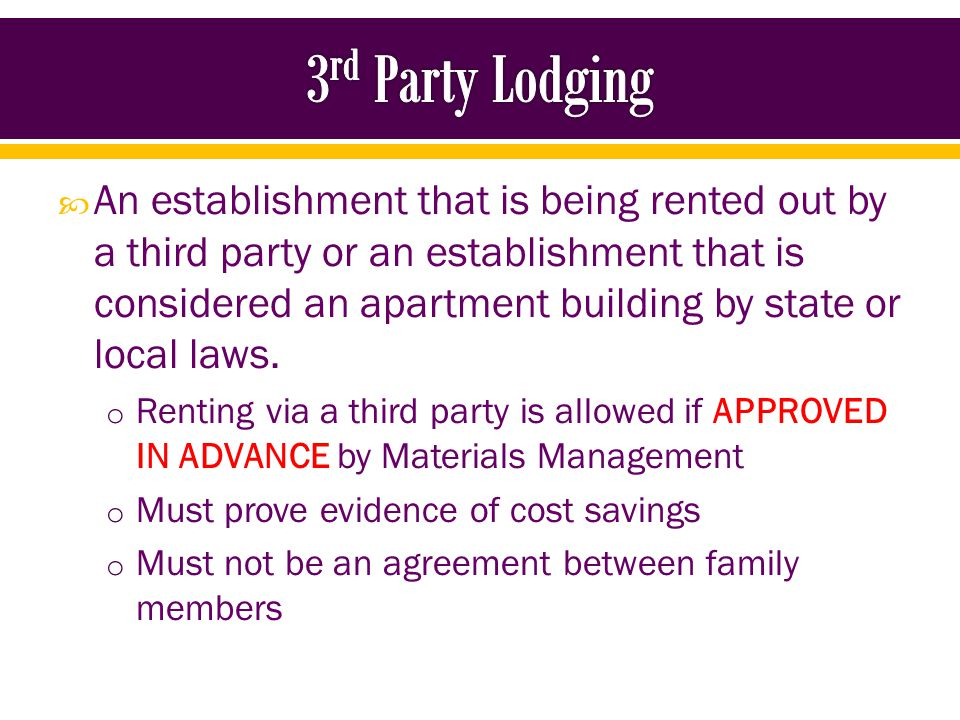 Contact Stacey Schley, Purchasing Specialist o Materials Management o 252-328-1012 http://www.ecu.edu/cs-admin/purchasing/upload/3rd- Party_Lodging_Pre-Approval.pdf http://www.ecu.edu/cs-admin/purchasing/upload/3rd- Party_Lodging_Pre-Approval.pdf