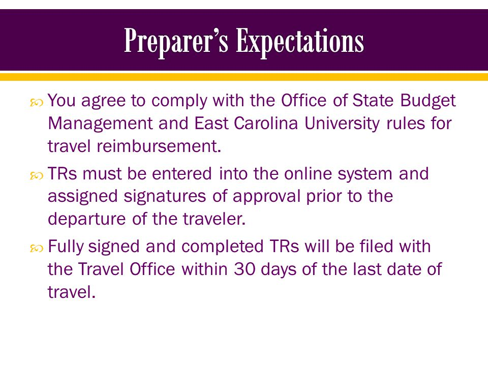 Anytime an employee is representing ECU at a location away from campus (Online Travel Form) Anytime a non-employee (Student, Resident, Fellow, etc.) is representing ECU at a location away from campus (Manual or Online Travel Form) Anytime a person (typically a non-employee – Candidate, Guest Speaker) is coming to ECU and they are to be reimbursed (Manual Travel Form)