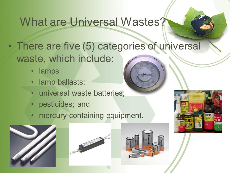 Universal Waste Lamps Universal waste lamps consist of: –fluorescent lamps and ballasts; –high intensity lamps; –neon lamps; –mercury vapor lamps; –high pressure sodium lamps; and –metal halide lamps.