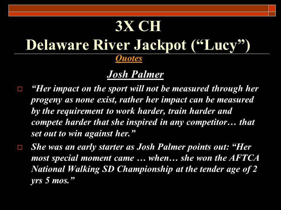 3X CH Delaware River Jackpot (Lucy)